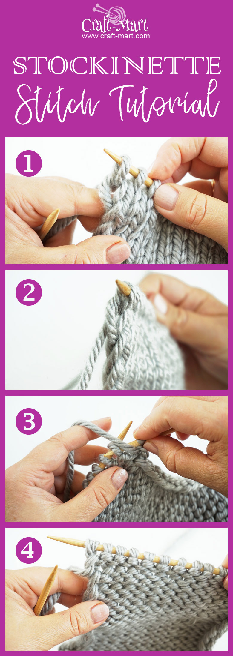step-by-step tutorial for stockinette stitch