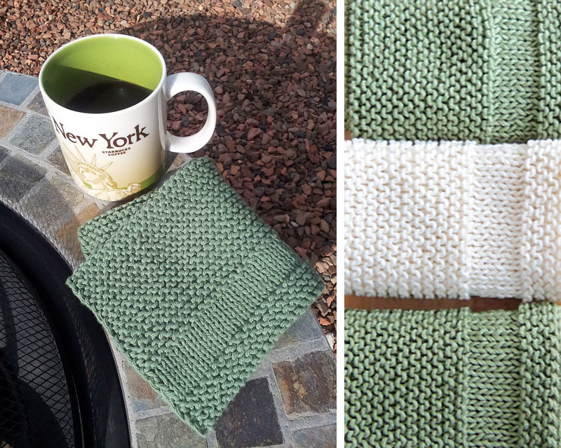 a simple knitted washcloth using stockinette stitch