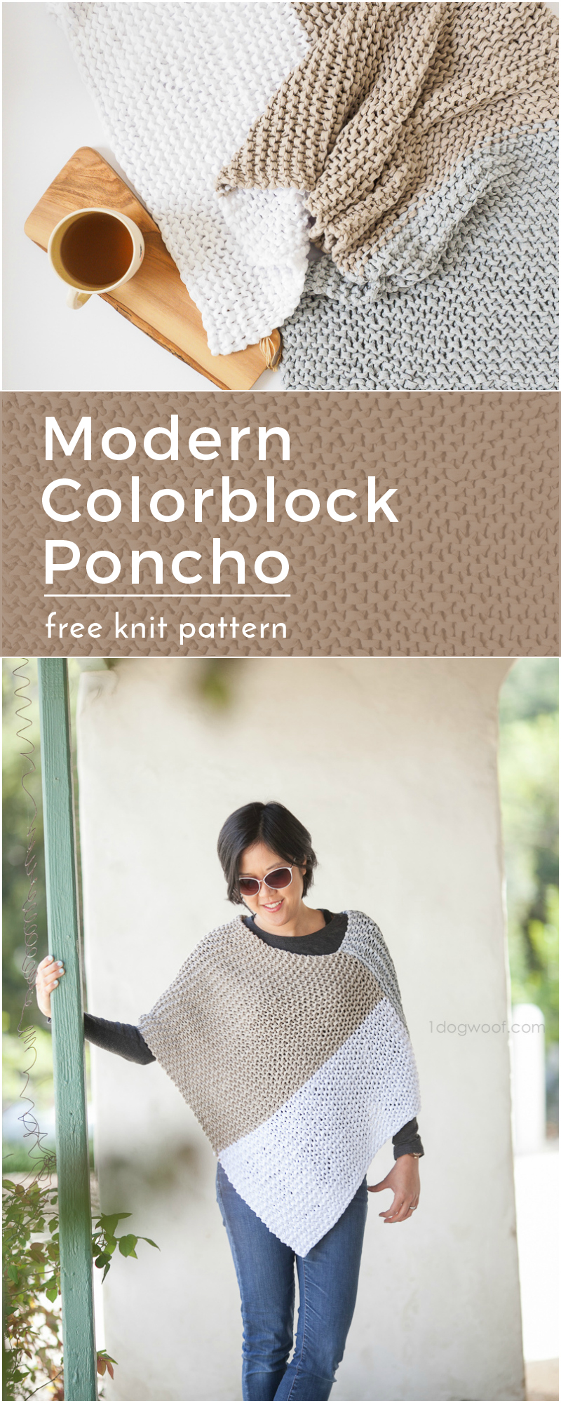 garter stitch colorblock poncho free pattern for beginners