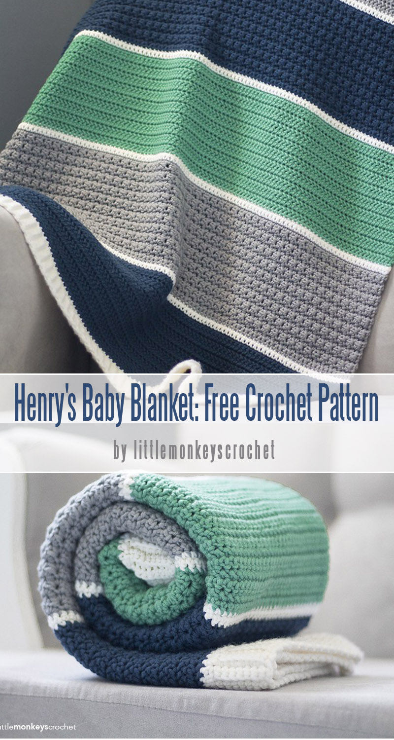 Henry's Baby Blanket: Free Crochet Pattern -best baby blankets for for beginners curated by craft-mart.com #crochetfreepattern #crochet4beginners #freecrochetbabyblanketpattern #easycrochetprojects