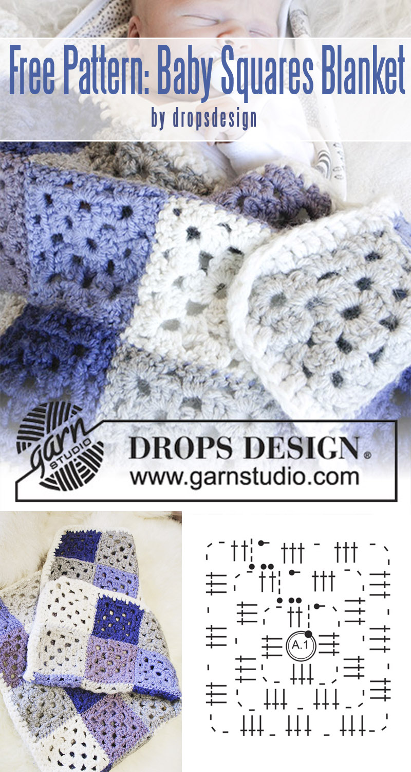 Baby Squares by DROPS Design - best baby blankets for for beginners curated by craft-mart.com #crochetfreepattern #crochet4beginners #freecrochetbabyblanketpattern #easycrochetprojects