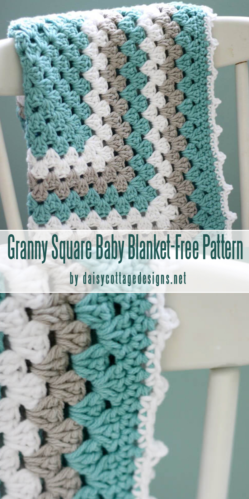 Free Crochet Pattern Granny Square Baby Blanket-best baby blankets for for beginners curated by craft-mart.com #crochetfreepattern #crochet4beginners #freecrochetbabyblanketpattern #easycrochetprojects