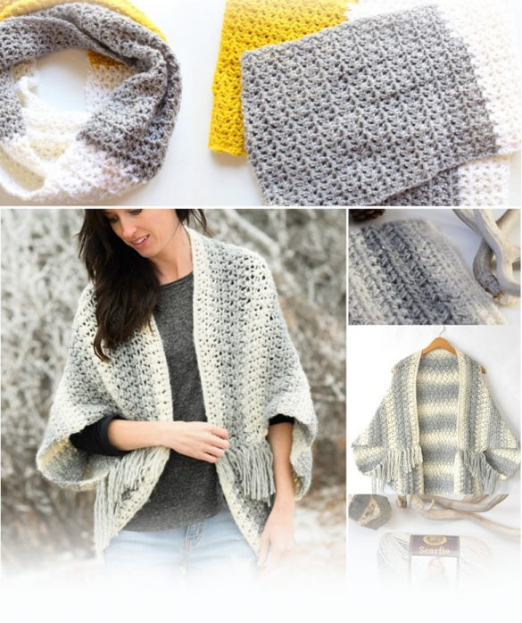 cozy and easy things to crochet by craft-mart including modern infinity scarf, cardigan, crochet wrap, lap blanket