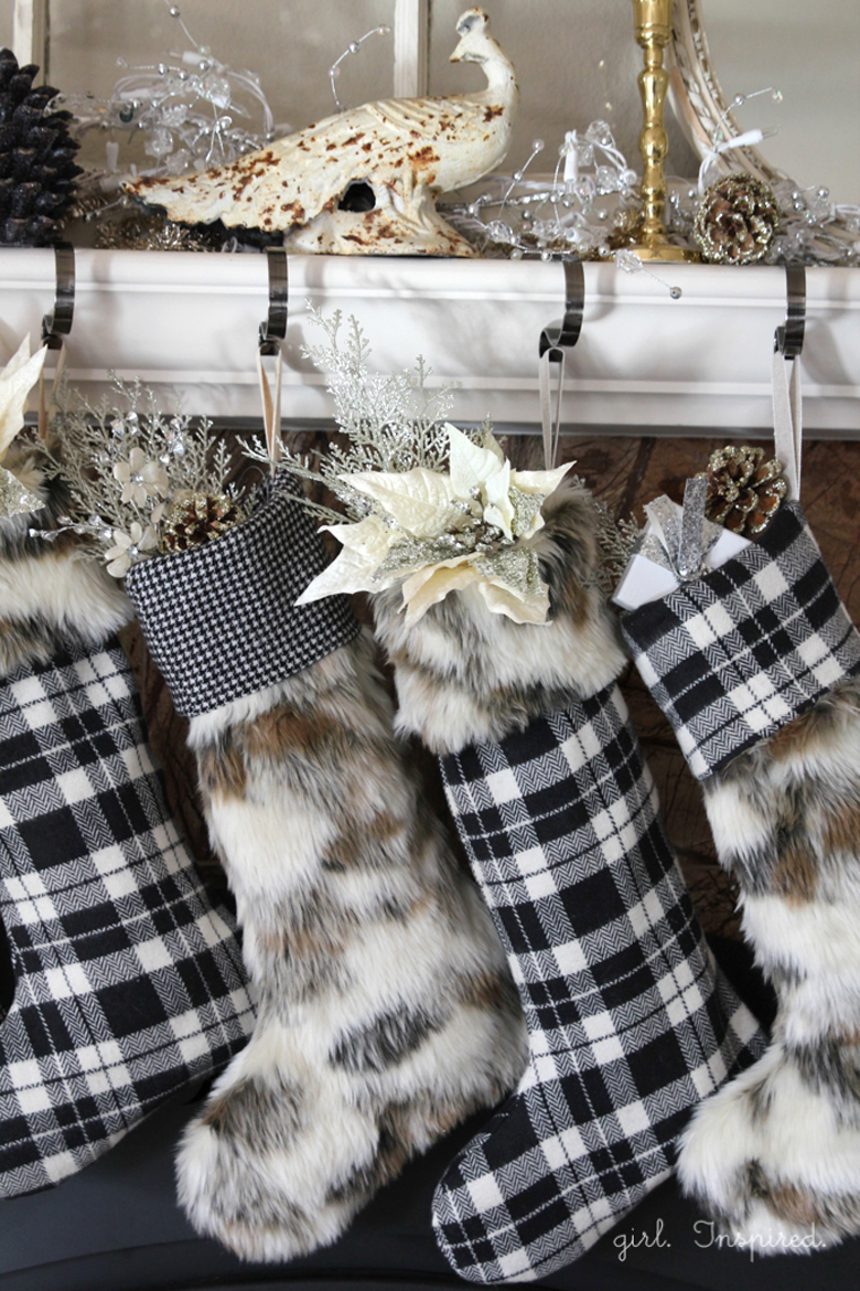 Using Stockings as rustic christmas ornaments is always a good idea for rustic Christmas decor