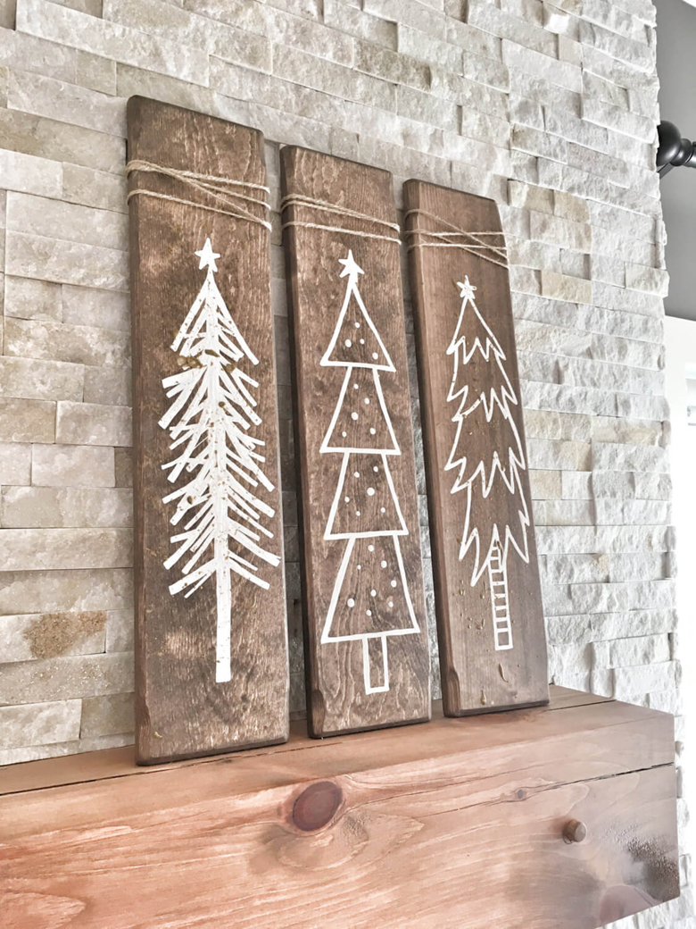 Rustic Wood board trio Christmas Trees Sign - one of the easiest and fun DIY rustic Christmas ornaments you can do with your family this holiday season!