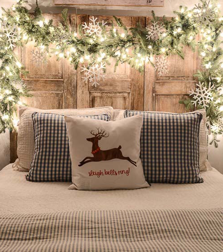 Rustic Headboard Decorated with Lights is one of the best rustic christmas decor ideas