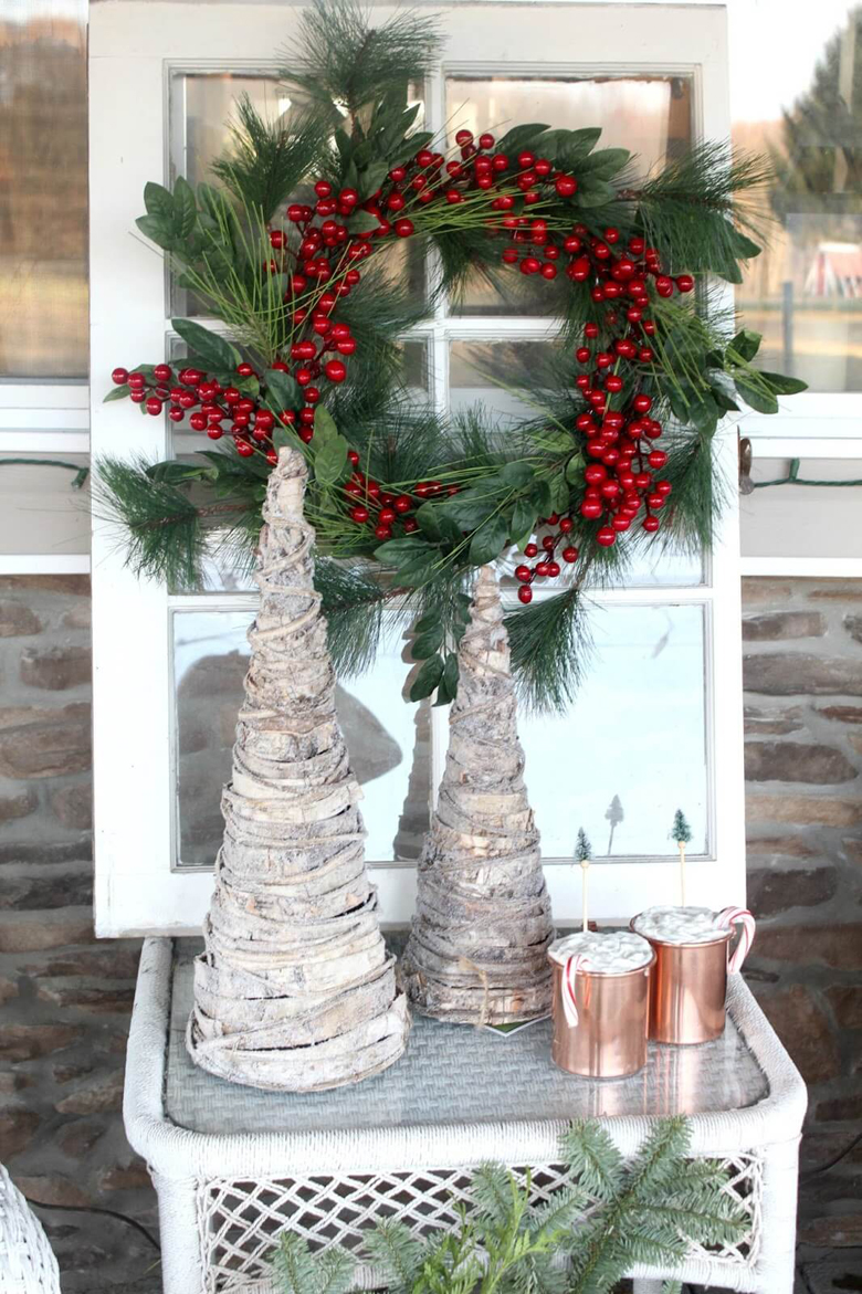 Rustic Farmhouse Porch with Antique Window Display