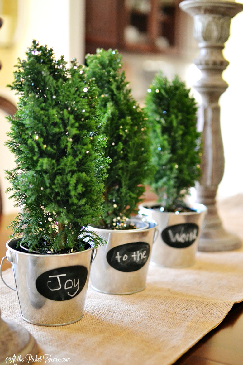 """Joy to the World"" Rustic Pots with Miniature Christmas Trees"