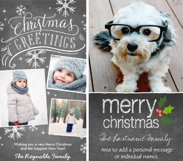 Chalkboard Christmas Greetings Photo Christmas Cards Ideas craft-mart
