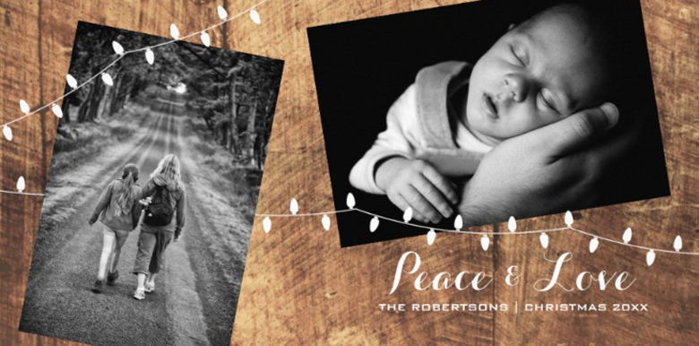 Rustic Peace & Love Photo Christmas Cards Ideas craft-mart