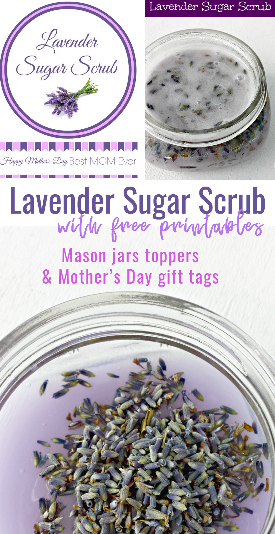 Lavender Sugar Scrub with free printables for Mother's Day school teacher gift mason jar printable labels