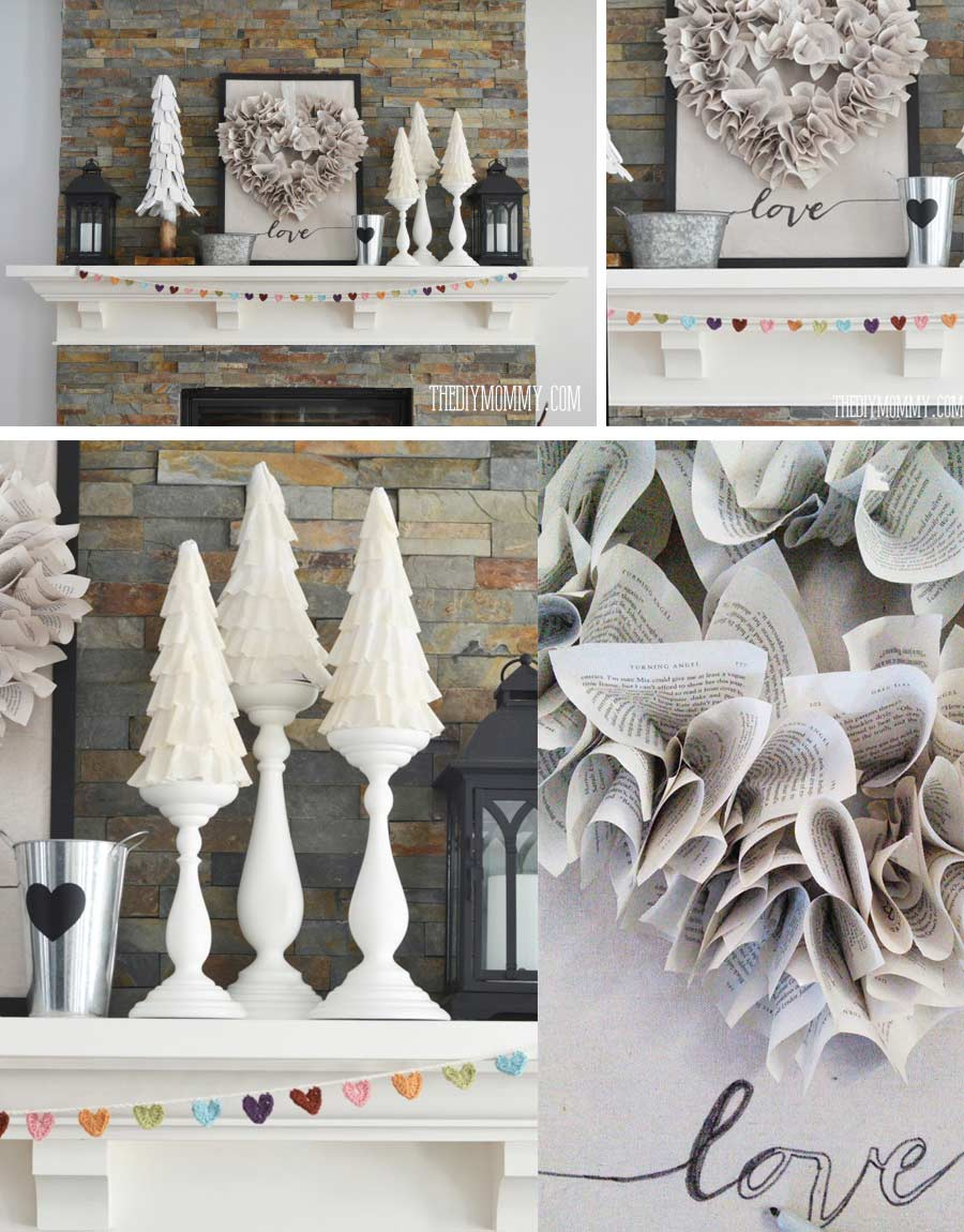 Easy Valentine Day Home Décor by craft-mart.com Rustic and Neutral mantel