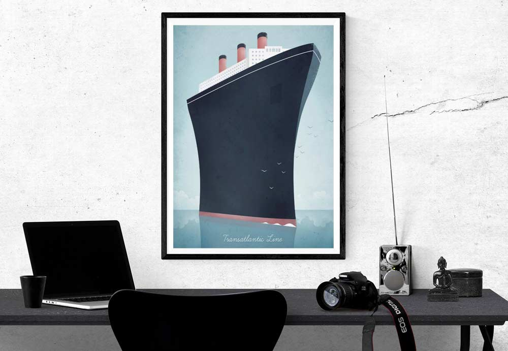 Ocean Liner Vintage Travel Poster designed by Henry Rivers
