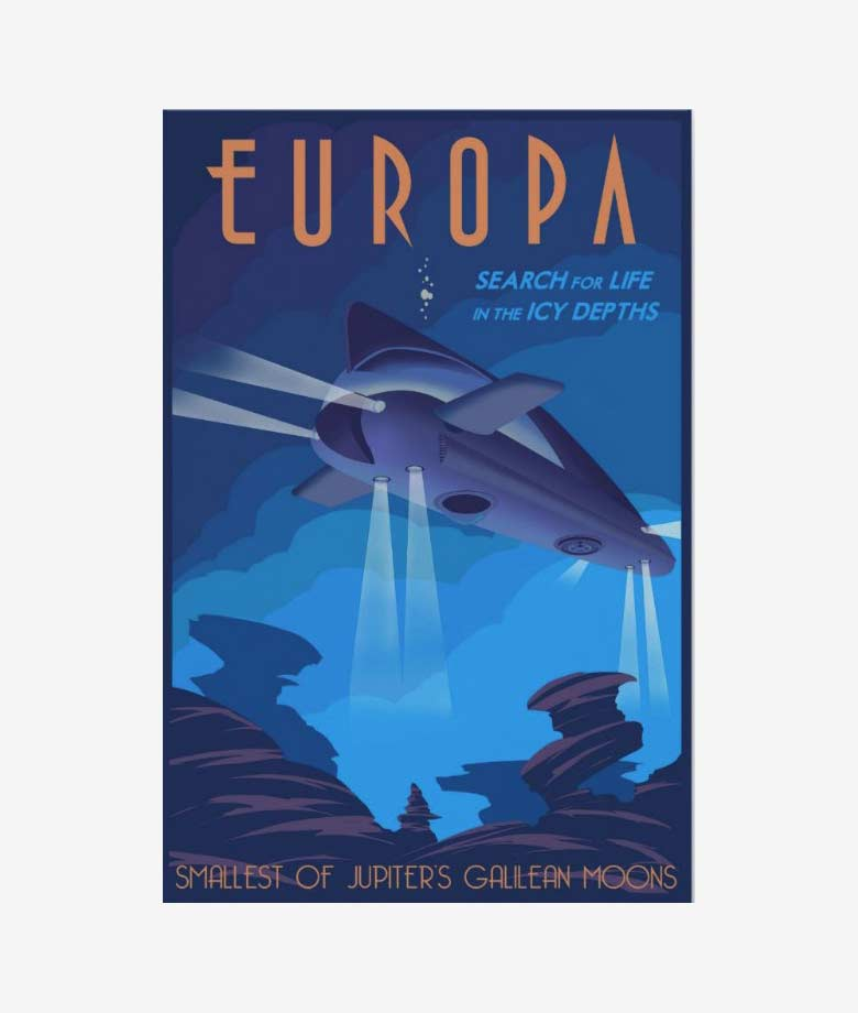 search for life on jupiters moon europa poster