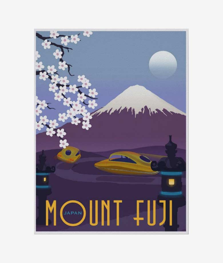 race to mount fuji in your flying car poster
