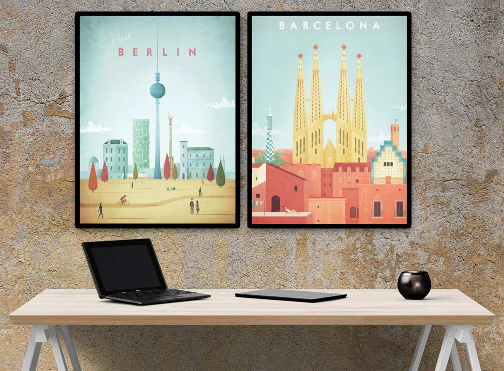 Travel posters by Henry Rivers - visit Berlin and visit Barcelona - multi-panel composition
