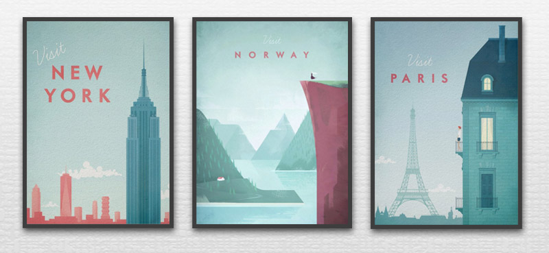 3 Vintage Travel Posters by Henry Rivers: Visit New York, Visit Norway, Visit Paris