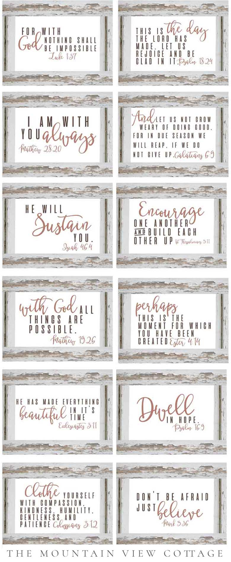 best farmhouse printables collection by carft-mart #freeprintables bible verse and free planner