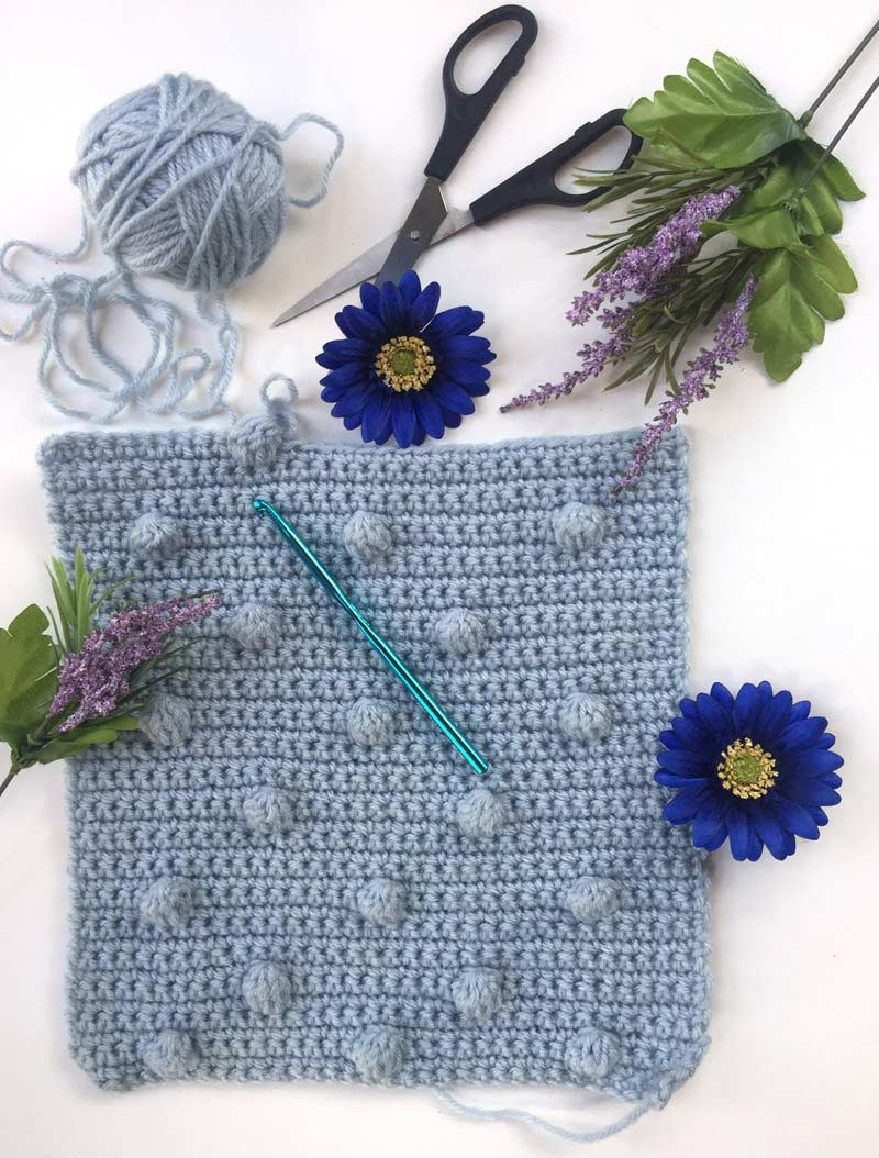 how to crochet Bobble Stitch tutorial - bobble stitch blanket - by craft-mart