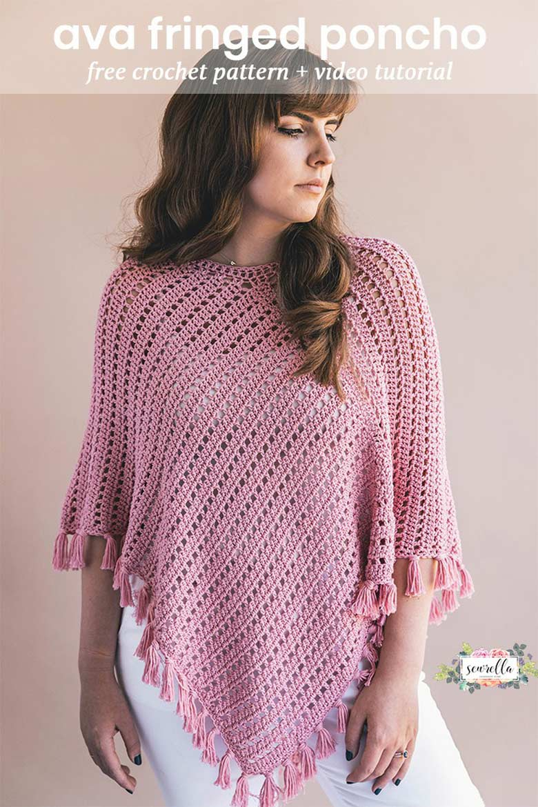 Easy Crochet Projects - Cherry Blossom Poncho in Cotton Bamboo Yarn