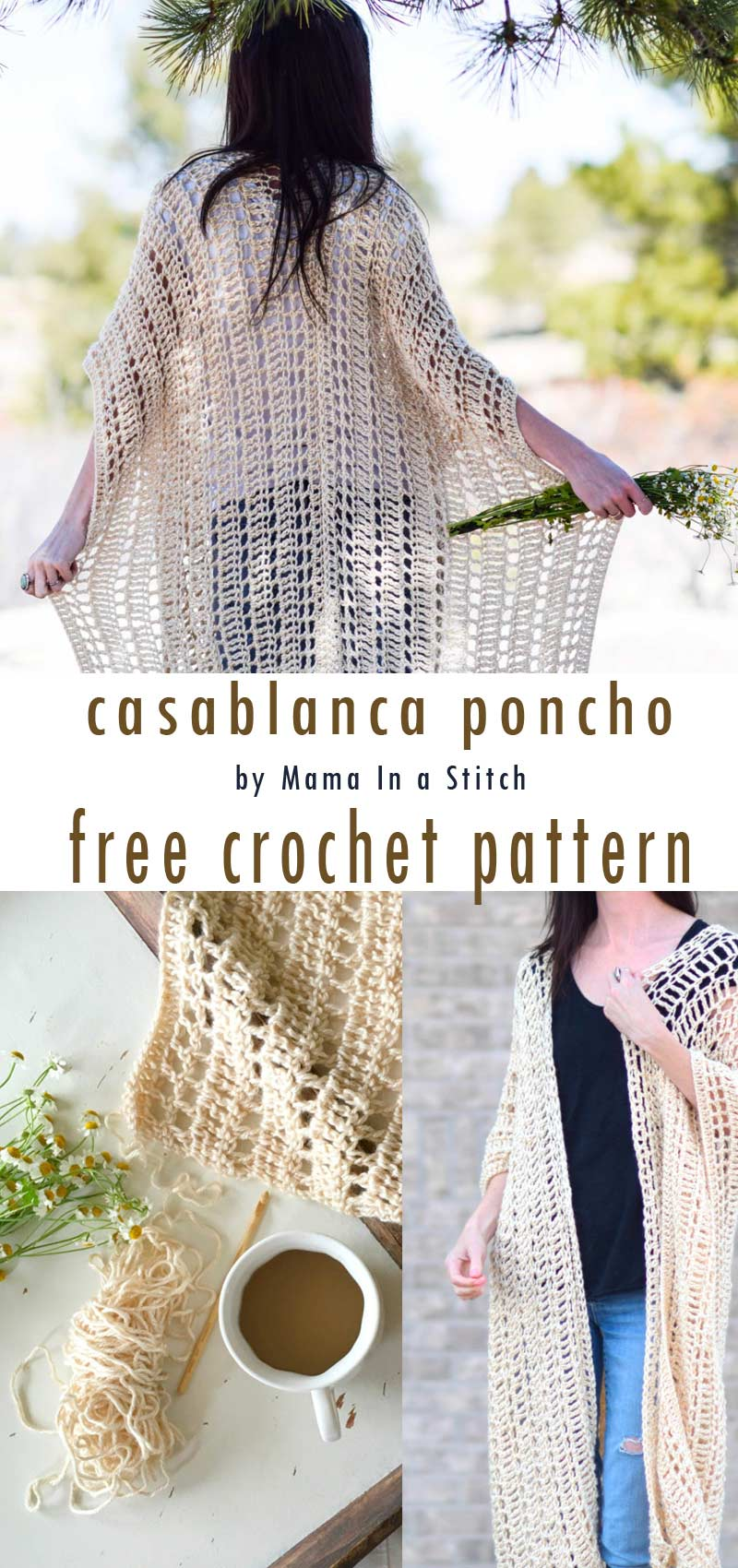 easy crochet projects for spring and summer by craft-mart.com - crochet poncho with free pattern