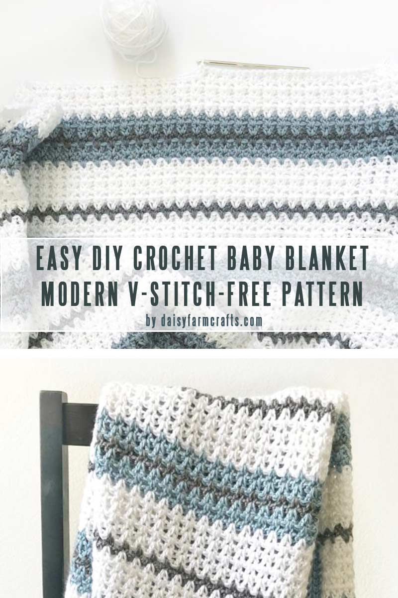 Modern Double Crochet V-Stitch Blanket - Easy DIY baby blankets you can crochet in a weekend collection by craft-mart