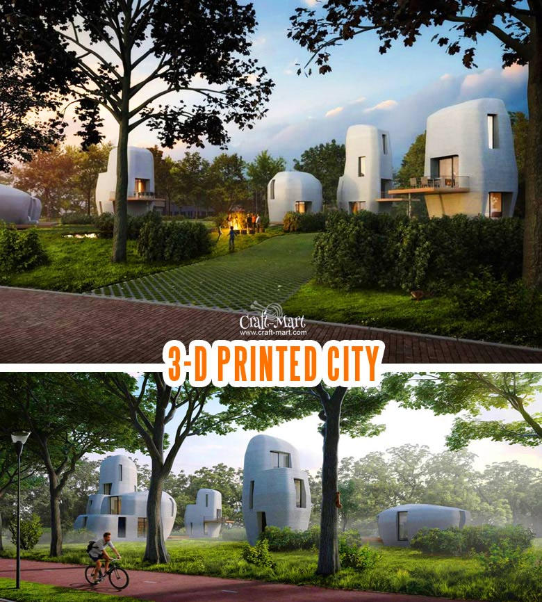 These futuristic homes will be 3D printed near the city of Eindhoven.