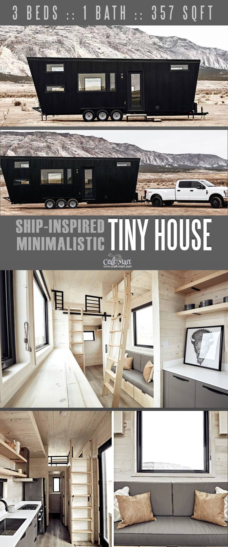 Minimalist tiny house that you may take anywhere. You can add custom features from most of the tiny home builders. Keep dreaming on or take an action and get one of these little affordable homes!#tinyhouseplans #tinyhome #tinyhouses #diywoodcrafts #diyproject #realestate #smallhouseplans