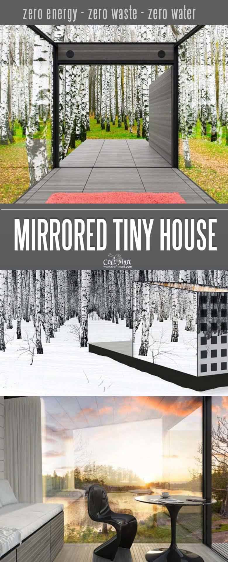 Mirrored tiny house that is self-sustainable. No need for heating or cooling. Look at these absolutely awesome tiny houses that you can afford! Some are 100% sustainable and do NOT need any utilities besides internet! You can add custom features from most of the tiny home builders. Keep dreaming on or take an action and get one of these little affordable homes!#tinyhouseplans #tinyhome #tinyhouses #diywoodcrafts #diyproject #realestate #smallhouseplans