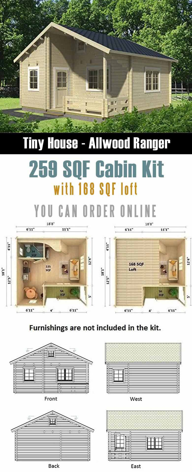 Allwood Ranger Kit Cabin is on of prefab tiny houses that you can order from Amazon