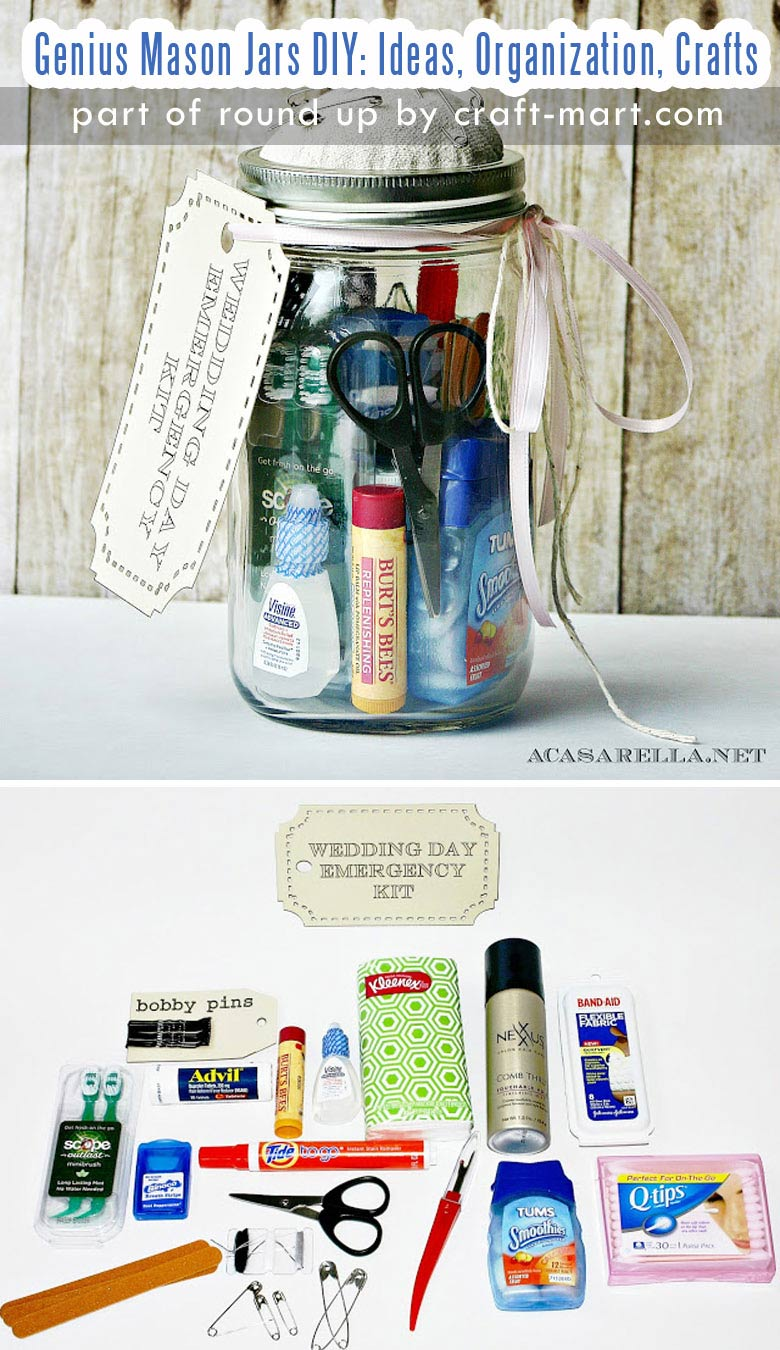 Genius Mason Jars DIY: Ideas, Organization, Crafts collection by craft-mart.com DIY Mason Jar Wedding Day Emergency Kit #masonjars #masonjarsdiy #diyprojects #masonjarsgifts #masonjarsorganization