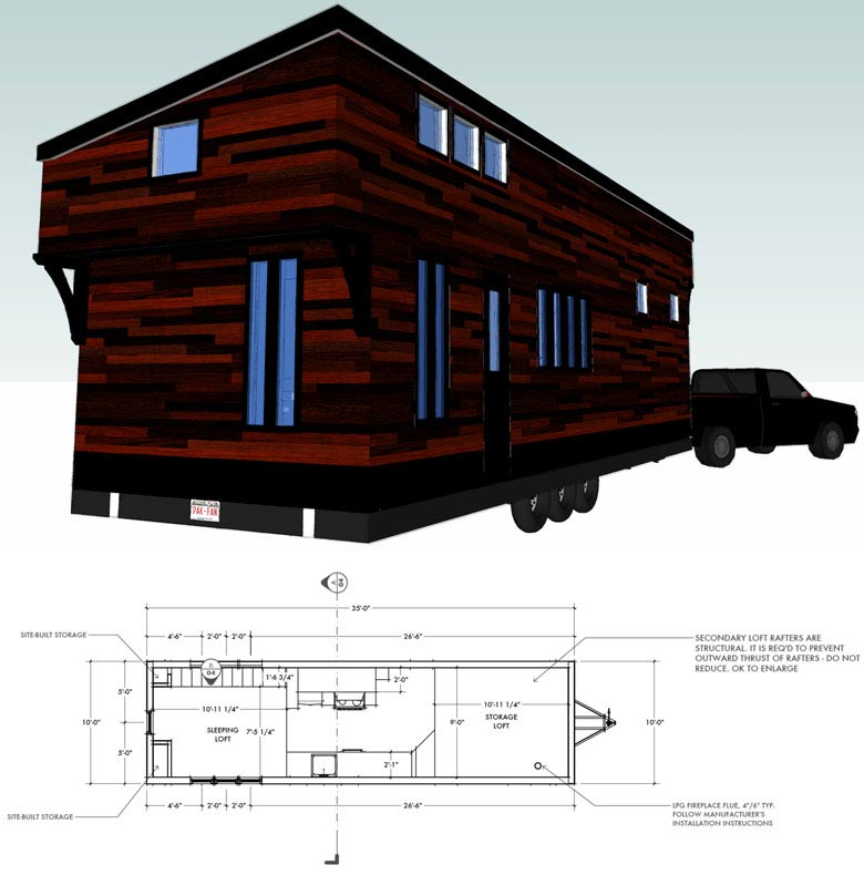 Tamarack mobile tiny house floor plan for building your dream home without spending a fortune. Your tiny house doesn't have to be ugly or weird - just look at these architectural masterpieces! Chose from traditional plans to mobile tiny house plans that will allow you to change your lifestyle and travel!
