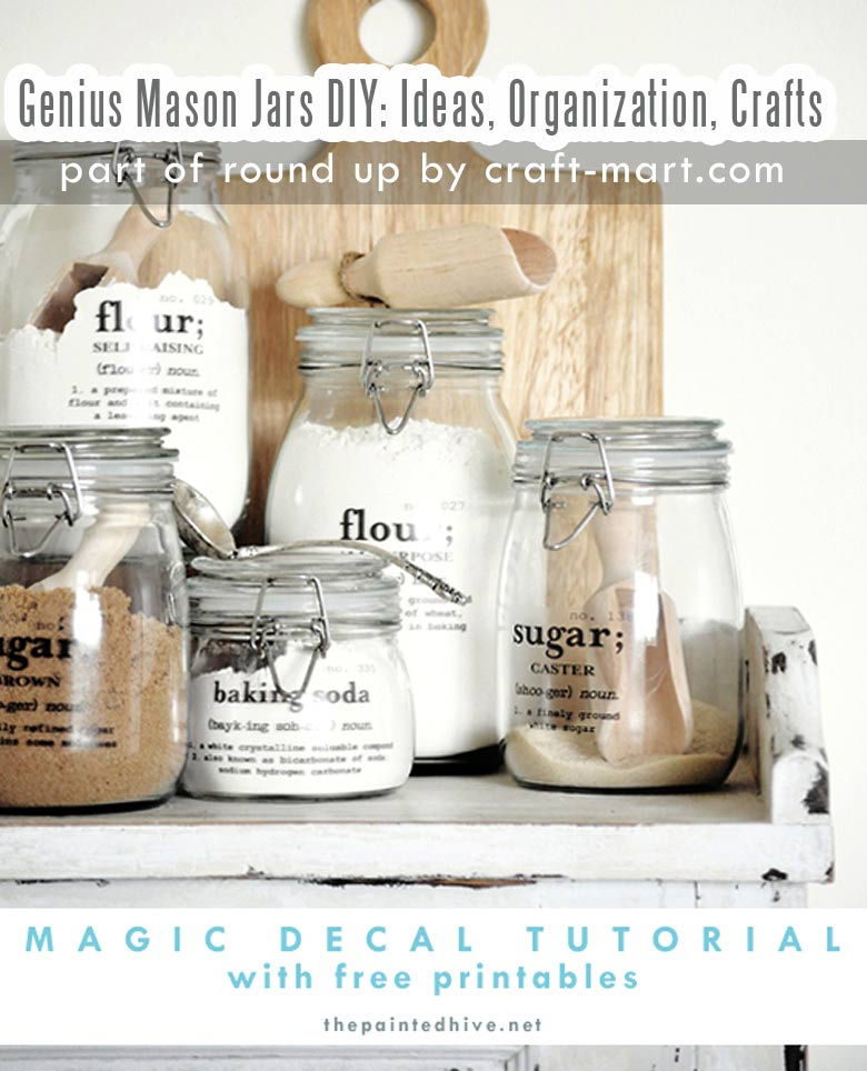 Genius Mason Jars DIY: Ideas, Organization, Crafts collection by craft-mart.com Mason Jar DIY Magic Decal Tutorial with Free Printables #masonjarsdiy #masonjarsorganization #masonjarsfreeprintables #masonjarspantry