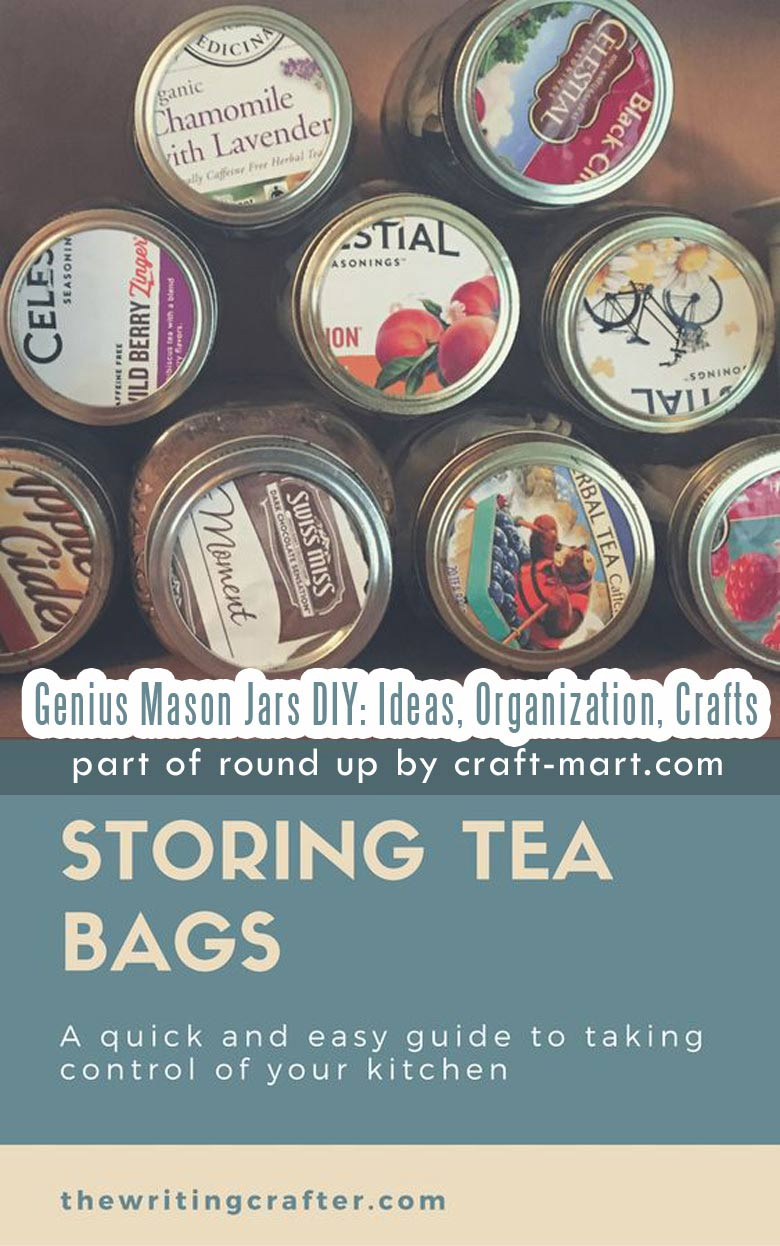 Genius Mason Jars DIY: Ideas, Organization, Crafts collection by craft-mart.com Mason Jar Hack: DIY Tea Organization Idea #diymasonjarhack #masonjarsdiy #masonjars