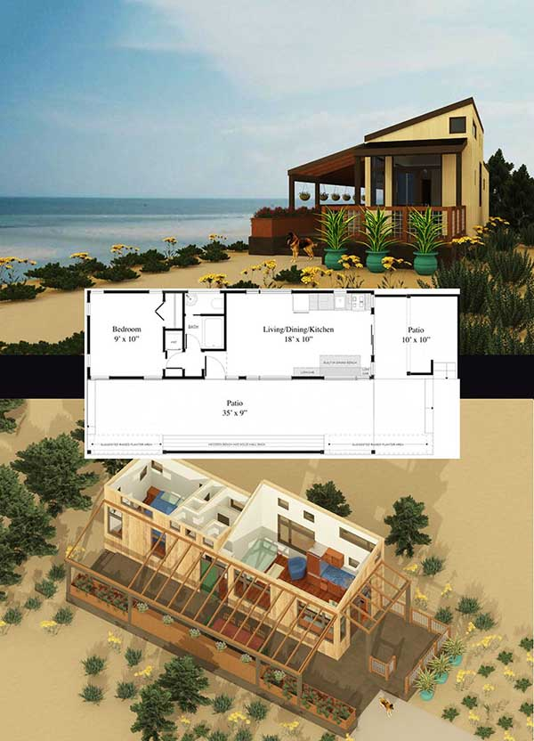 Sonoma tiny house floor plan for building your dream home without spending a fortune. Your tiny house doesn't have to be ugly or weird - just look at these architectural masterpieces! Chose from traditional plans to mobile tiny house plans that will allow you to change your lifestyle