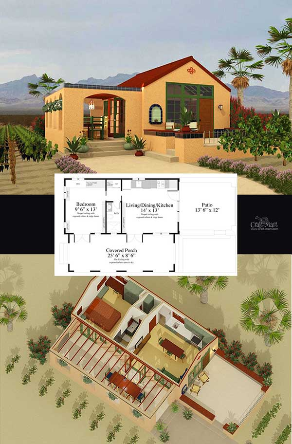 Santa Barbara tiny house plan for building your dream home without spending a fortune. Your tiny house doesn't have to be ugly or weird - just look at these architectural masterpieces! Chose from traditional plans to mobile tiny house plans that will allow you to change your lifestyle and be free!