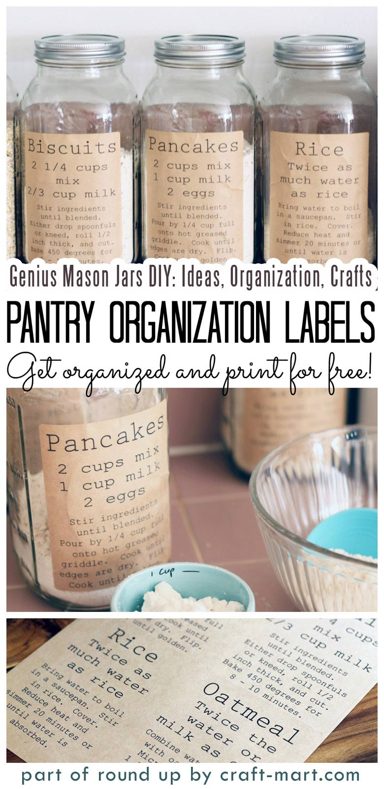 Genius Mason Jars DIY: Ideas, Organization, Crafts collection by craft-mart.com Pantry Organization Labels for Mason Jar Storage Solution #masonjars #masonjarsdiy #diyprojects #masonjarsorganization #masonjarspantry #masonjarsfreelabels