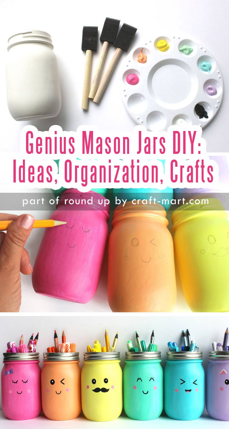 Genius Mason Jars DIY: Ideas, Organization, Crafts collection by craft-mart.com DIY Mason Jars Fun Faces Pencils & Markers Holders #masonjars #masonjarsdiy #diyprojects #masonjarsorganization #paintedmasonjars