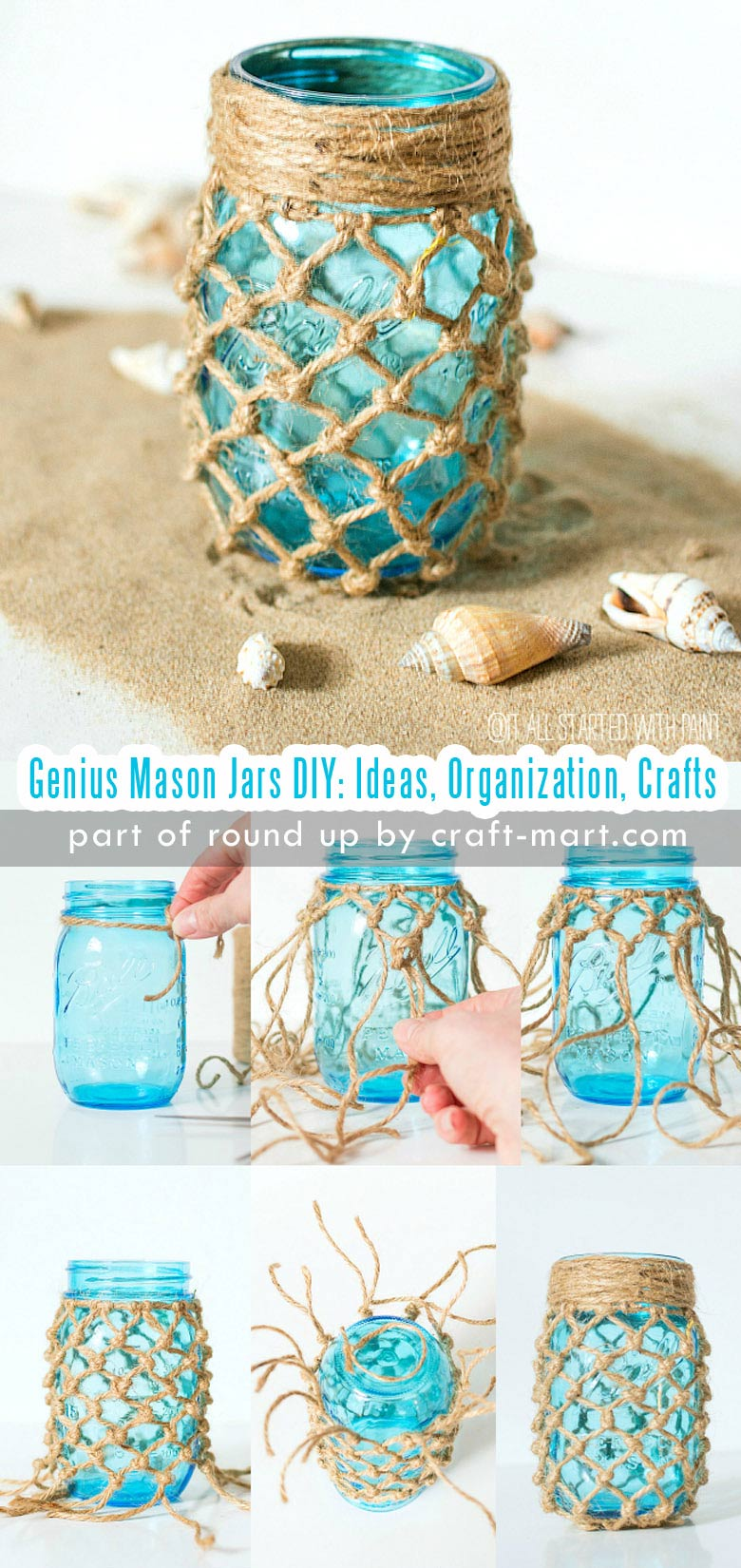 Genius Mason Jars DIY: Ideas, Organization, Crafts collection by craft-mart.com DIY Coastal Theme Fishnet Mason Jar #masonjars #masonjarsdiy #diyprojects #masonjarsdecor #masonjarscrafts