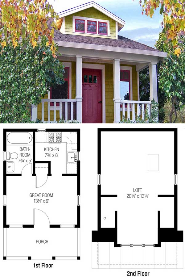 Tiny Bungalow Tiny House Floor Plan For Building Your Dream Home Without  Spending A Fortune.