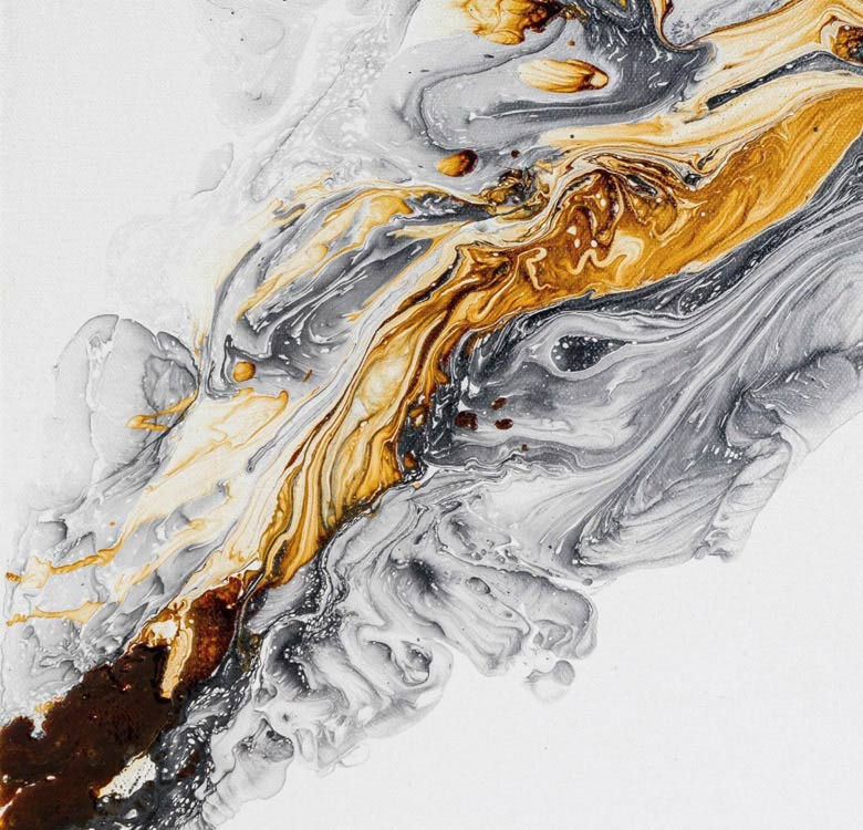 Looking for easy canvas painting ideas for beginners? Try Acrylic Pouring using white, yellow ochre, and black to give a modern look to your Abstract Painting.