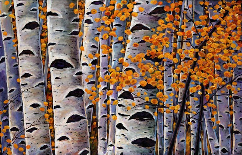 Painting aspen tree trunks with autumn foliage can be one of the easiest canvas art ideas for beginners