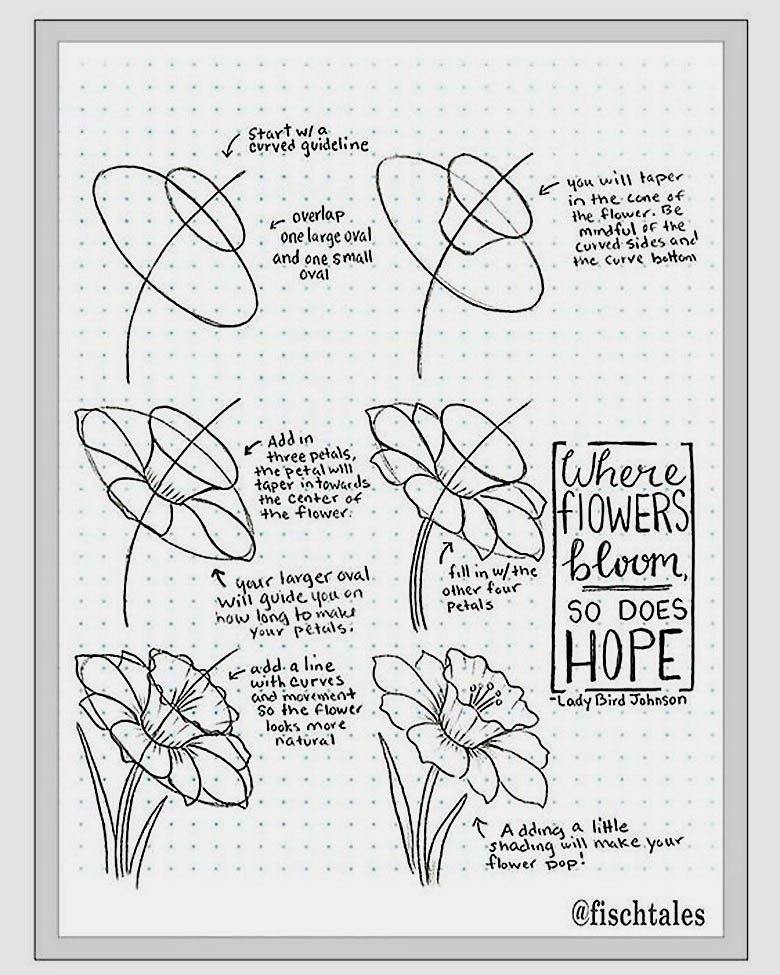 how to draw a flower instructions - Learn how to draw flowers like roses of lilies and turn them into really beautiful wall art. practice flower drawings easy on chalkboard with step-by-step tutorials and easy to follow the instructions and get amazing results! Drawing is relaxing and fun for all ages! #drawings #howtodraw #flowers  #wallart #walldecor