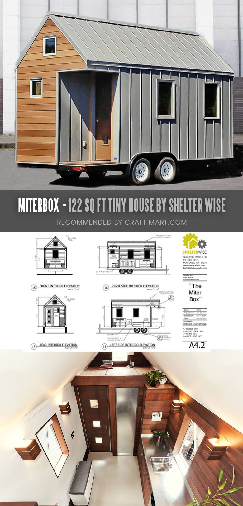 Tiny House Trailer Miterbox - A Modern Retreat or Minimalist Flat - one of the most affordable tiny houses on wheels. You can order it to be built or build it yourself using this mobile tiny house plans. #tinyhouse