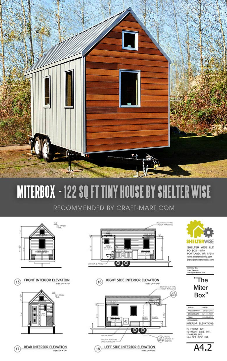 Tiny House Trailer - Miterbox - A Modern Retreat or Minimalist Flat - One of the 17 Best Custom Tiny House Trailers and Kits with Plans, the most affordable tiny houses on wheels. You can order a shell to be built or build it yourself using this mobile tiny house plans saving thousands of dollars. #tinyhouse #tinyhouseplans #minimalism #diy