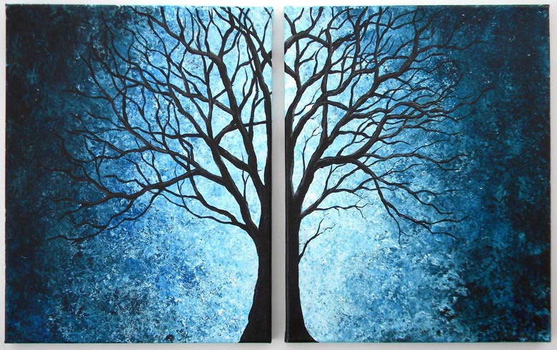 Looking for cool things to do with a blank canvas? Design symmetrical 2-piece wall art using simple objects like trees