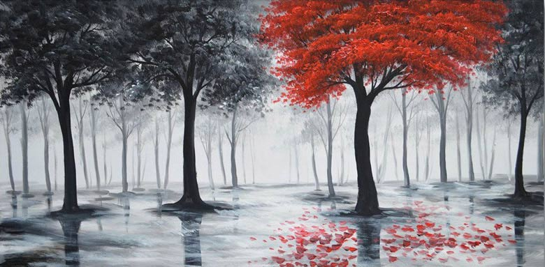 Looking For Easy Canvas Painting Ideas Beginners More Realistic Trees With One Color