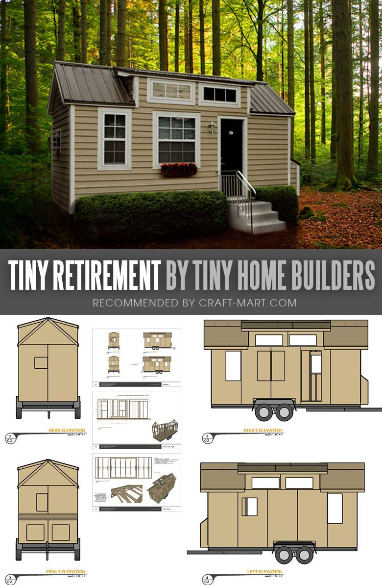 Tiny House Trailer - Retirement by Tiny Home Builders - Enroll in one of the Tiny Home Builders workshops and get mobile tiny house plans to save thousands of dollars. #tinyhouse #tinyhouseplans #minimalism #diy