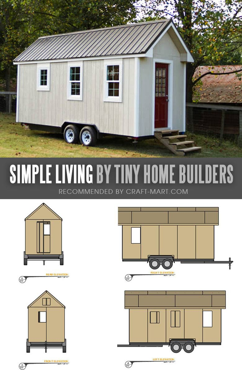 Tiny House Trailer - Simple Living by Tiny Home Builders - Enroll in one of the Tiny Home Builders workshops and get mobile tiny house plans to save thousands of dollars. #tinyhouse #tinyhouseplans #minimalism #diy