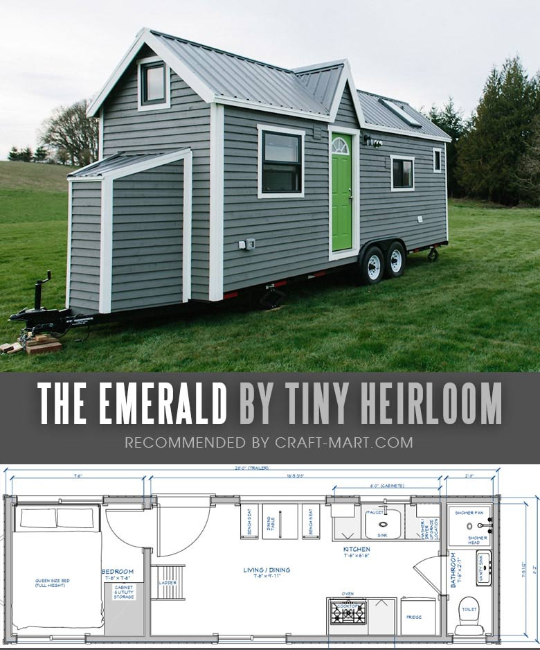 Tiny House Trailer - The Emerald by Tiny Heirloom -One of the 17 Best Custom Tiny House Trailers and Kits with Plans, the most affordable tiny houses on wheels. You can order a shell to be built or build it yourself using this mobile tiny house plans saving thousands of dollars. #tinyhouse #tinyhouseplans #minimalism #diy